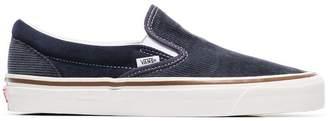 Vans navy blue and grey 98 DX corduroy slip on sneakers