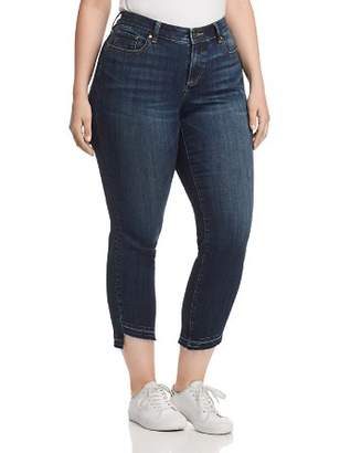 Vince Camuto Plus Curved-Hem Crop Jeans in Dark Authentic