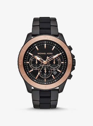 Michael Kors Theroux Black-Tone And Silicone Watch