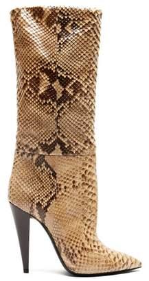 Saint Laurent Charlotte Point Toe Python Boots - Womens - Python
