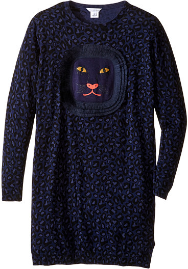 Little Marc Jacobs Little Marc Jacobs Knitted Leopard Frange Style All Over Printed Dress (Big Kids)