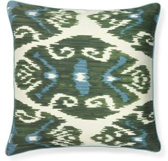 Williams-Sonoma Williams Sonoma Silk Ikat with Piping Pillow Cover, Green