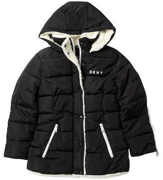 DKNY Metallic Bubble Faux Shearling Lined Jacket (Big Girls)