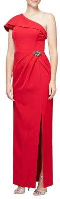 Alex Evenings Beaded One-Shoulder Evening Gown