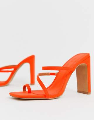 Barely There Asos Design ASOS DESIGN Heckle toe loop block heeled sandals in neon orange