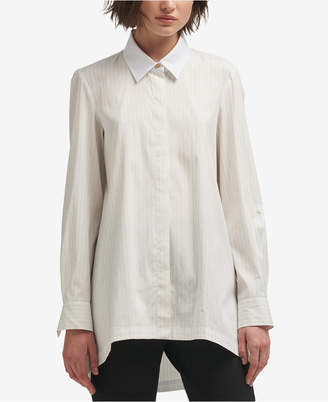 DKNY Striped High-Low Button-Front Shirt