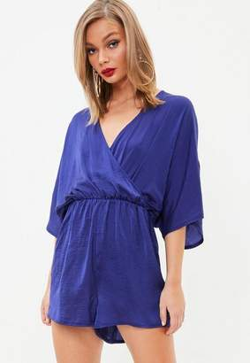 Missguided Blue Hammered Satin Kimono Sleeve Playsuit, Blue