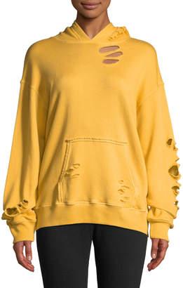 Monrow Oversized Distressed Pullover Hoodie Sweatshirt