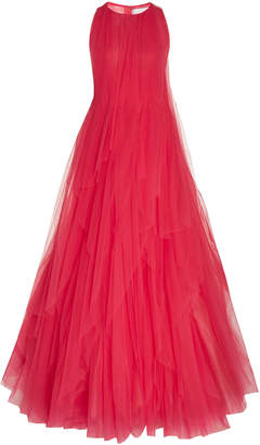 Carolina Herrera Layered Pleated Tulle Gown Size: 4