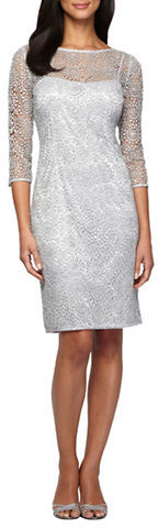 Alex Evenings Alex Evenings Three Quarter Sleeve Sequined Lace Illusion Sheath Dress
