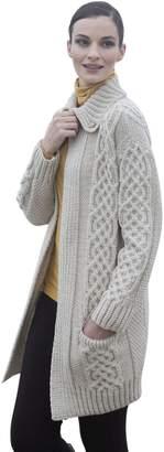 Carraigdonn Carraig Donn Ladies Plaited Coat Merino Wool Cardigan