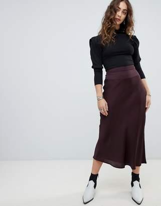 Free People Normani bias cut satin midi skirt