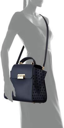 Zac Posen Eartha Side-Perforated Leather Crossbody Bag, Navy
