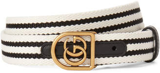 Gucci Striped Double G Woven Belt