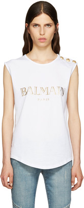 Balmain White Logo T-Shirt $280 thestylecure.com