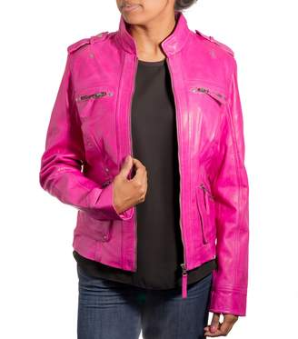 Fashionable A to Z Leather Womens Real Soft Leather Biker Jacket with Mandarin Style Soft Collar.
