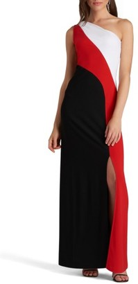 Women's Eci One-Shoulder Colorblock Maxi Dress $98 thestylecure.com