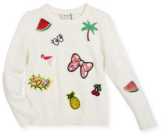 Milly Minis Patches Pullover Sweater, Size 8-14