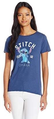 Disney Women's Stitch Ohana High Low Roll Cuff Drapey Graphic Tee $20.82 thestylecure.com
