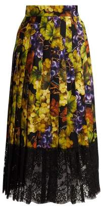 Dolce & Gabbana Grape Print Silk Blend Skirt - Womens - Black Multi