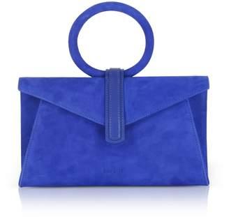 Valery Complet Royal Blue Suede Mini Clutch Bag W/shoulder Strap