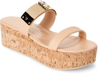 Giuseppe Zanotti Sand Embellished Atena Wedge Slide Sandals