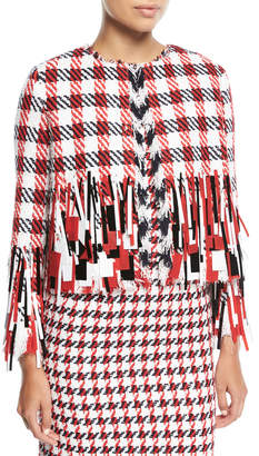 Oscar de la Renta Open-Front Houndstooth Tweed Jacket with Paillettes