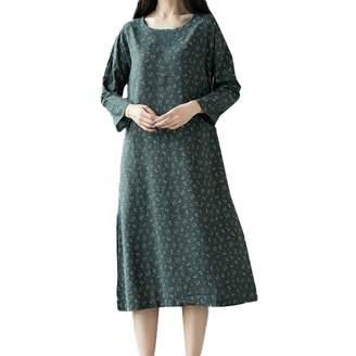 HEFEITONG Maxi Skirts Women,Dress Women Plus Size,Women Plue Size Long Sleeve Patchwork Cotton Linen Loose Print Bohe Dress