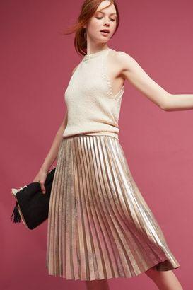 Maeve Pleated Metallic Skirt