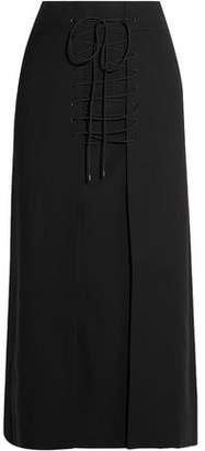 Vilshenko Vera Lace-Up Wool-Canvas Midi Skirt