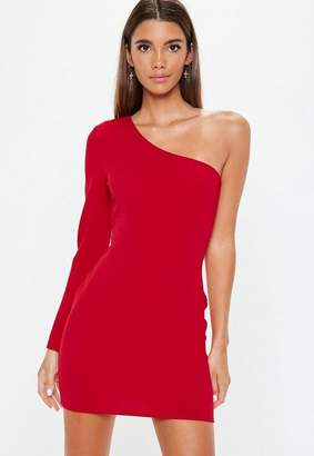 Missguided Red One Shoulder Bodycon Dress, Red