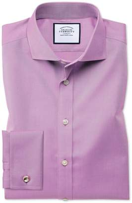 Charles Tyrwhitt Extra Slim Fit Spread Collar Non-Iron Twill Violet Cotton Dress Shirt French Cuff Size 14.5/33