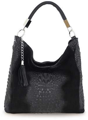 Kaleidoscope Italian Leather Croc effect Hobo Bag