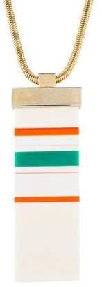 Lanvin Resin Striped Pendant Necklace