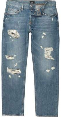 River Island Big and Tall mid blue ripped loose fit jeans