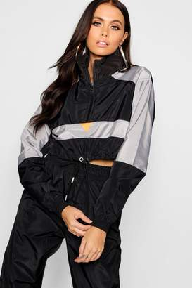 boohoo Colour Block Shell Tracksuit Top