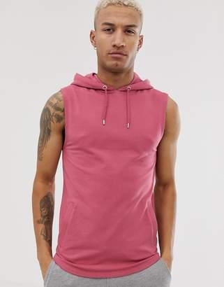 ea5c9c46ba100 Asos Design DESIGN sleeveless muscle hoodie in pink