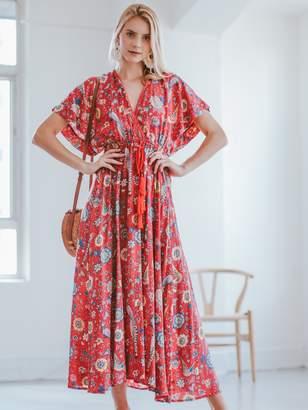 Goodnight Macaroon 'Arlinda' Floral Print Plunge Neck Open Back Maxi Dress