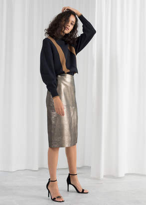 And other stories Metallic Leather Pencil Skirt