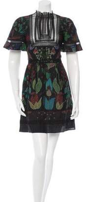 Valentino Lace-Trimmed Silk Dress w/ Tags