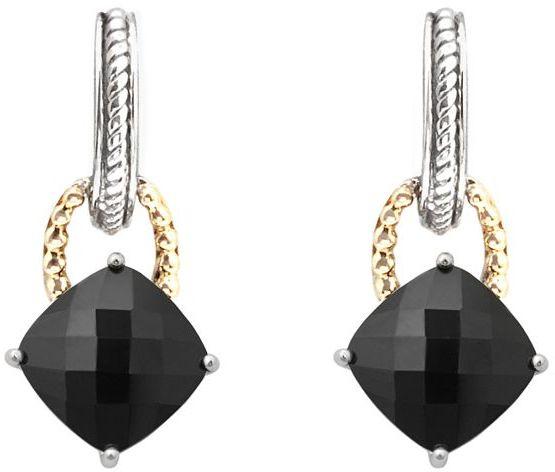 Sterling Silver Two-Tone Onyx Drop Earrings