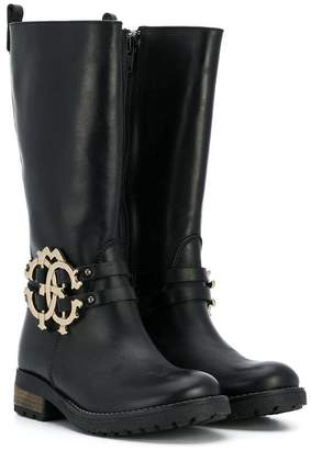 Roberto Cavalli Junior logo plaque tall boots