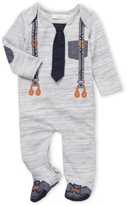 Miniclasix (Newborn Boys) Space-Dye Suspenders Footie