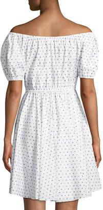 Caroline Constas Bardot Polka-Dot Puff-Sleeve Dress