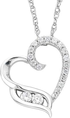 You & Me ... Meant To Be Sterling Silver 1/4 Carat T.W. Diamond 2-Stone Heart Pendant