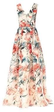 Carolina Herrera Silk Gazar Floral Sleeveless Gown