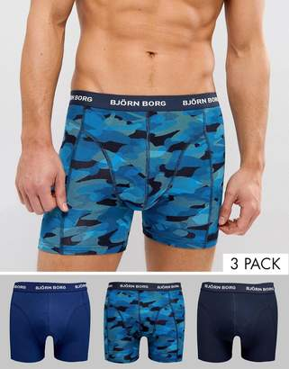 Bjorn Borg Bjorn Bjorg 3 Pack Trunks Camo Blue