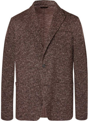 Altea Brown Unstructured Herringbone Wool-Blend Blazer