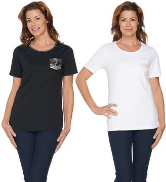 Factory Quacker Set of Two Ombre Sparkle Pocket Knit T-Shirts