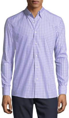 Ermenegildo Zegna Cotton Check-Print Shirt, Lavender